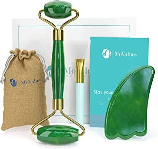 Rodillo de Jade Verde, set de masaje facial en piedra 100% natural